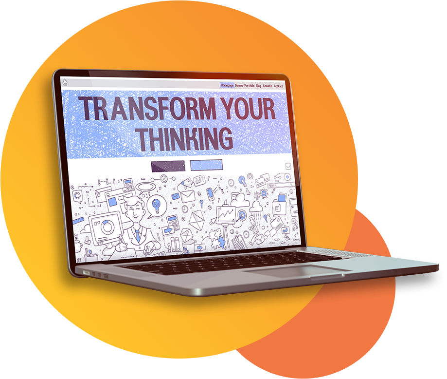 a laptop displaying text transform your thinking