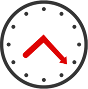 clock with red hands