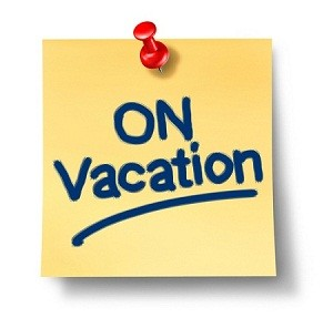 sticky note that says on vacation